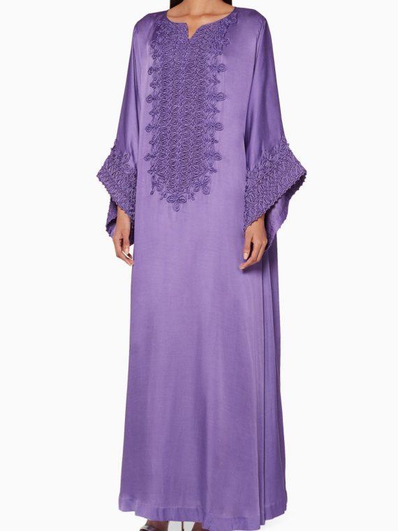 Amethyst-Purple Embroidered Classic Kaftan-Bthaina