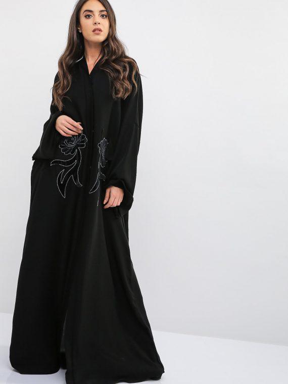 Applique Patched Pocket Style Abaya-Bousni