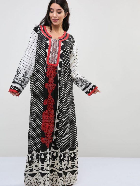 Arabesque-Polka Dot Inspired Printed Jalabiyas-Sara Arabia