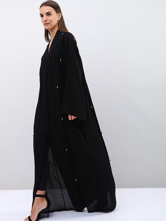 Beaded Wide Sleeves Abaya-Roza