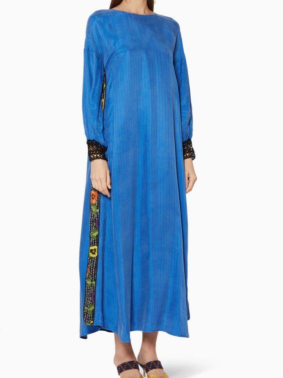 Blue Embroidered Dai Kaftan-205.00