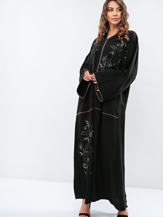 Floral Front Embroidered Abaya-Haya