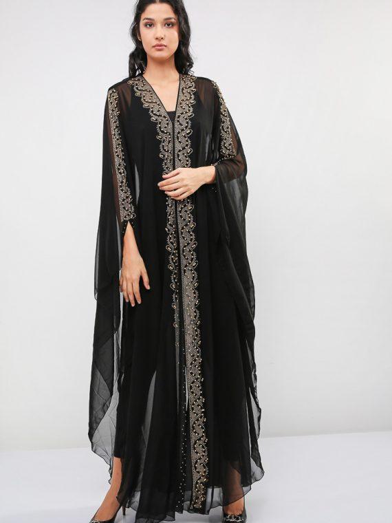 Pearl Embellished Chiffon Wedding Abaya-MAHA ABAYAS