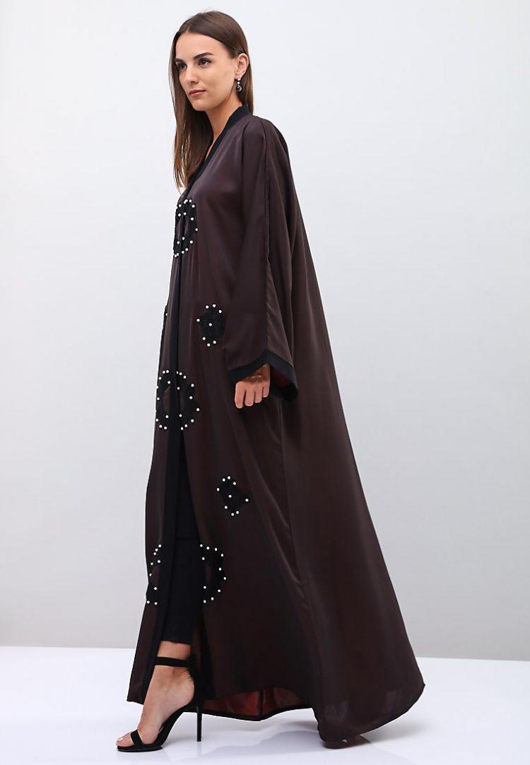 Pearls And Beads Embellished Sleeves Abaya-Roza