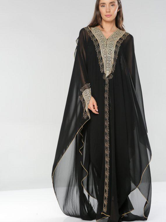 Wide Sleeves Abaya-Hela Couture