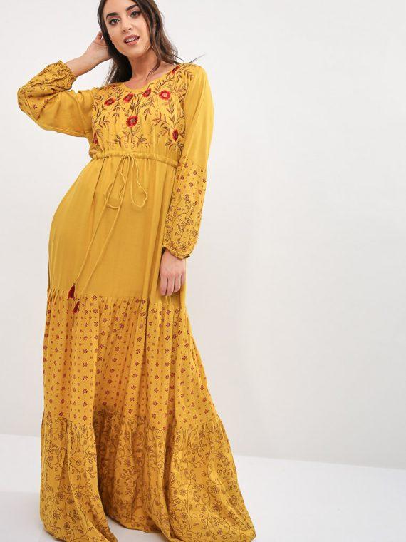 Yellow Fitted Cuffs Jalabiya-Kashkha